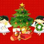 Angyalkák a karácsonyfánál